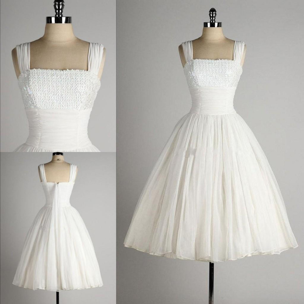 Vintage Tea Length Short Wedding Dresses with Sequins Mid calf Rebe ...