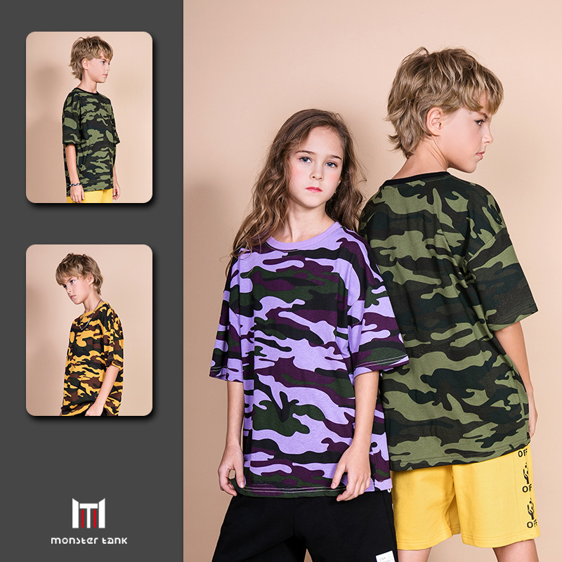 Boys T-Shirt Oversize Short-Sleeve Children Tees Teenagers Printed Kids Summer Camouflage