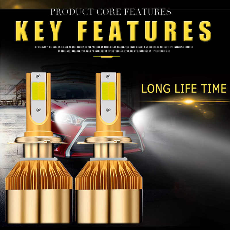2018 New 2PC Tri Color car headlight h7 led H4 bulb h1 h11 h8 h9 hb3 hb4 9005 9006 880 881 12V 24V 48w 4800LM auto fog light