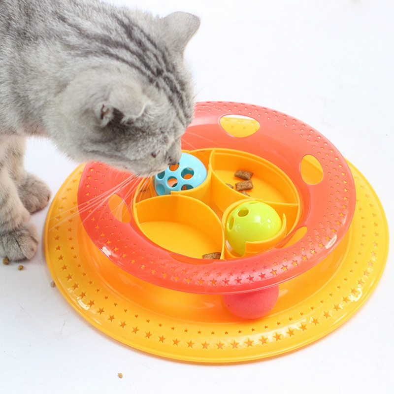 Plastic Cat Feeders Tower Tracks Disc Cat Toy Amusement Shelf Play Station Pet Cats Triple Play Disc Ball Toys Jouet Chat 2018