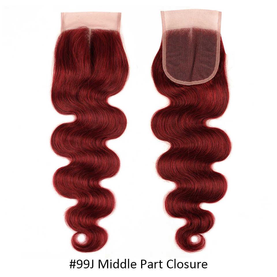 Блестящие звезды 99J дерзкие красные 3 бордовые пучки с закрытием малазийские объемные волнистые цветные человеческие волосы пучки с закрытием не Реми