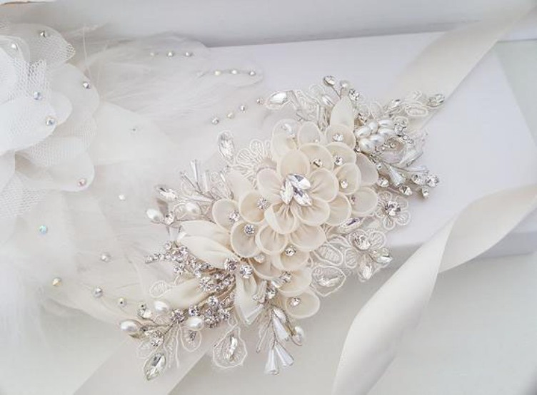 Купить с кэшбэком Rhinestone and Floral Wedding Sash, Bridal Belt, Custom Wedding Belts and Sashes