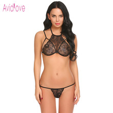 Avidlove 2018 New Lingerie Sexy Hot Erotic Underwear Women Lace Up Halter Chemise Lingerie Set Langeri Negligee Porn Sex Costume