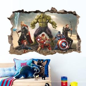 Image 5 - Film de bande dessinée Avengers stickers muraux pour enfants chambres décor à la maison 3d effet décoratif stickers muraux bricolage mural art pvc affiches art