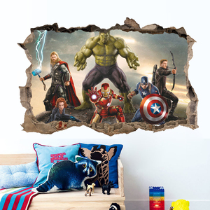 Image 5 - cartoon movie Avengers wall stickers for kids rooms home decor 3d effect decorative wall decals diy mural art pvc posters art