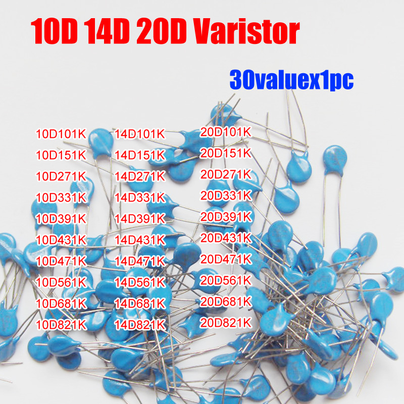 30valuesX1pc=30pcs 10D/14D/20D Voltage Dependent Resistor Kit  Etc.  Varistor Resistor Pack