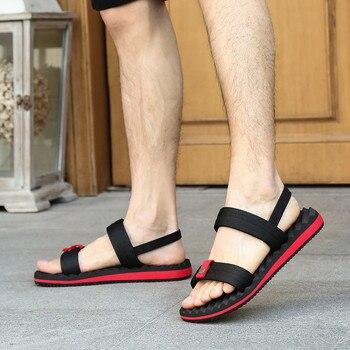 Men Beach Sandals 2019 New Summer Men Black Sandals High Quality Summer Flat Shoes Sandalias Rome Style Size 39-44  Jan15 laptop bag