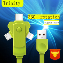 Smart three in one Data cables multifunction 360 Degree Free Rotation fast charging data transmission for ios Type-C Android