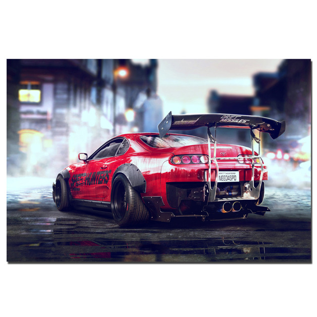 Toyota Supra Sports Car Poster Canvas Cloth Fabric Print For Home Decor  Wall Art Poster