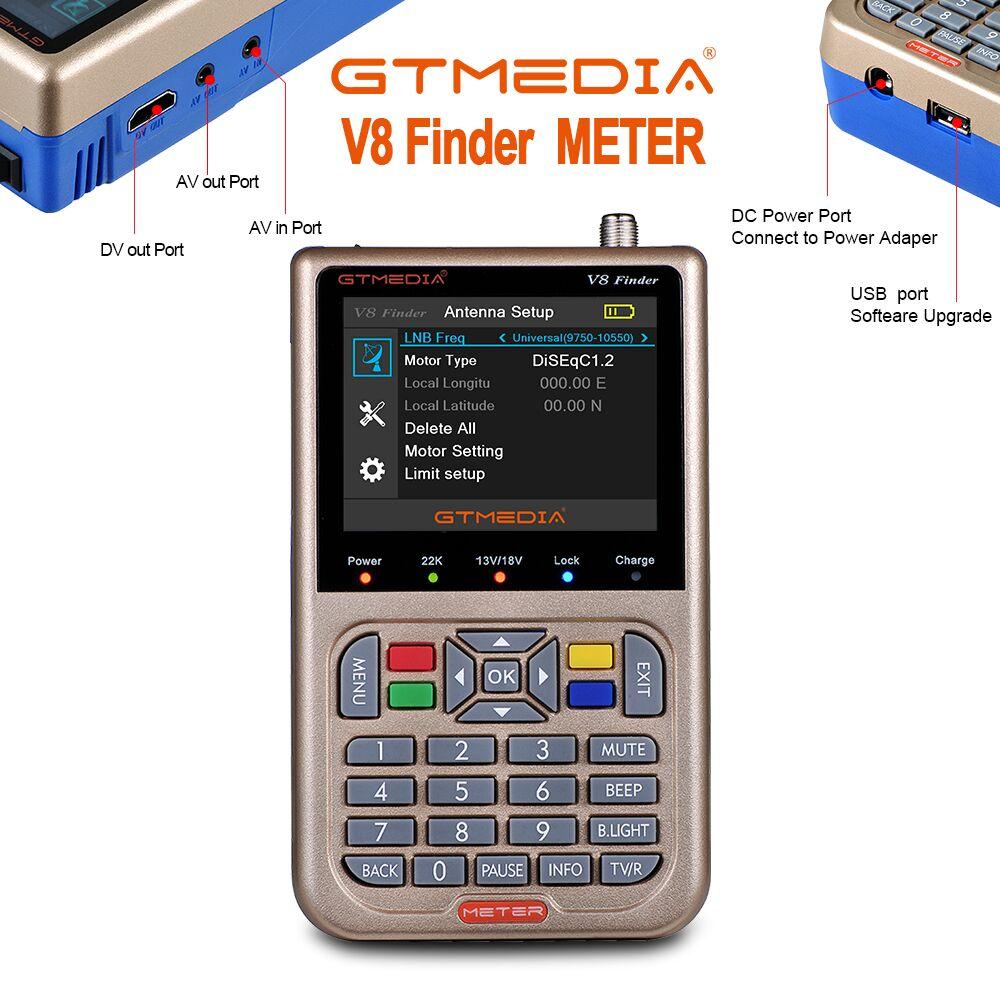 NEW GTmedia V8 Finder Meter Satellite Finder Satfinder HD 1080P DVB-S/S2/S2X signals with Battery 3000mAh Update From V8 FinderNEW GTmedia V8 Finder Meter Satellite Finder Satfinder HD 1080P DVB-S/S2/S2X signals with Battery 3000mAh Update From V8 Finder