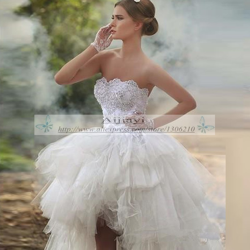 Modern Wedding Dresses Cute Ruffles Tulle High Low Style Wedding ...