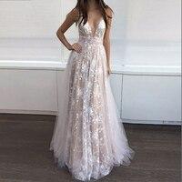 White Long Dress Party Dress Bridesmaid Wedding Halter Lace Deep V neck Date Sparkling Dress 2019