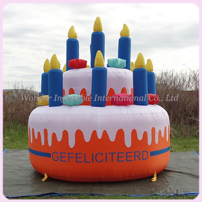 Fine Customized Giant Oxford Inflatable Birthday Cake Model With Personalised Birthday Cards Bromeletsinfo