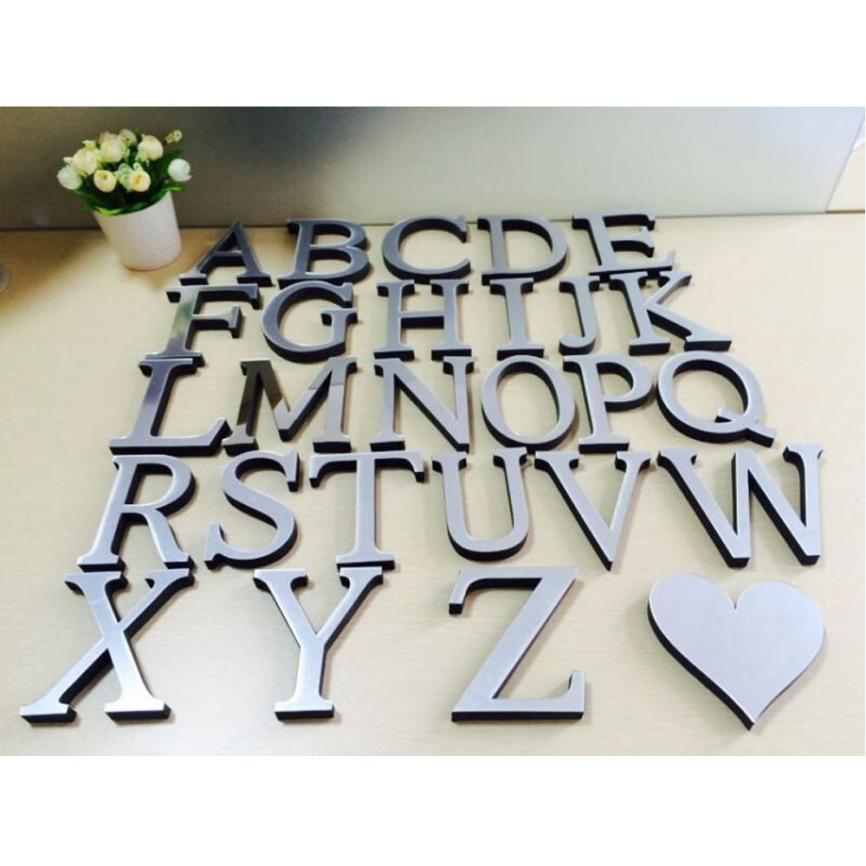 26 Letters DIY 3D Silver Mirror Wall Sticker Acrylic Mirrored Decorative Stickers Wall Decals Mirror Lettering Alphabet Decor(China)