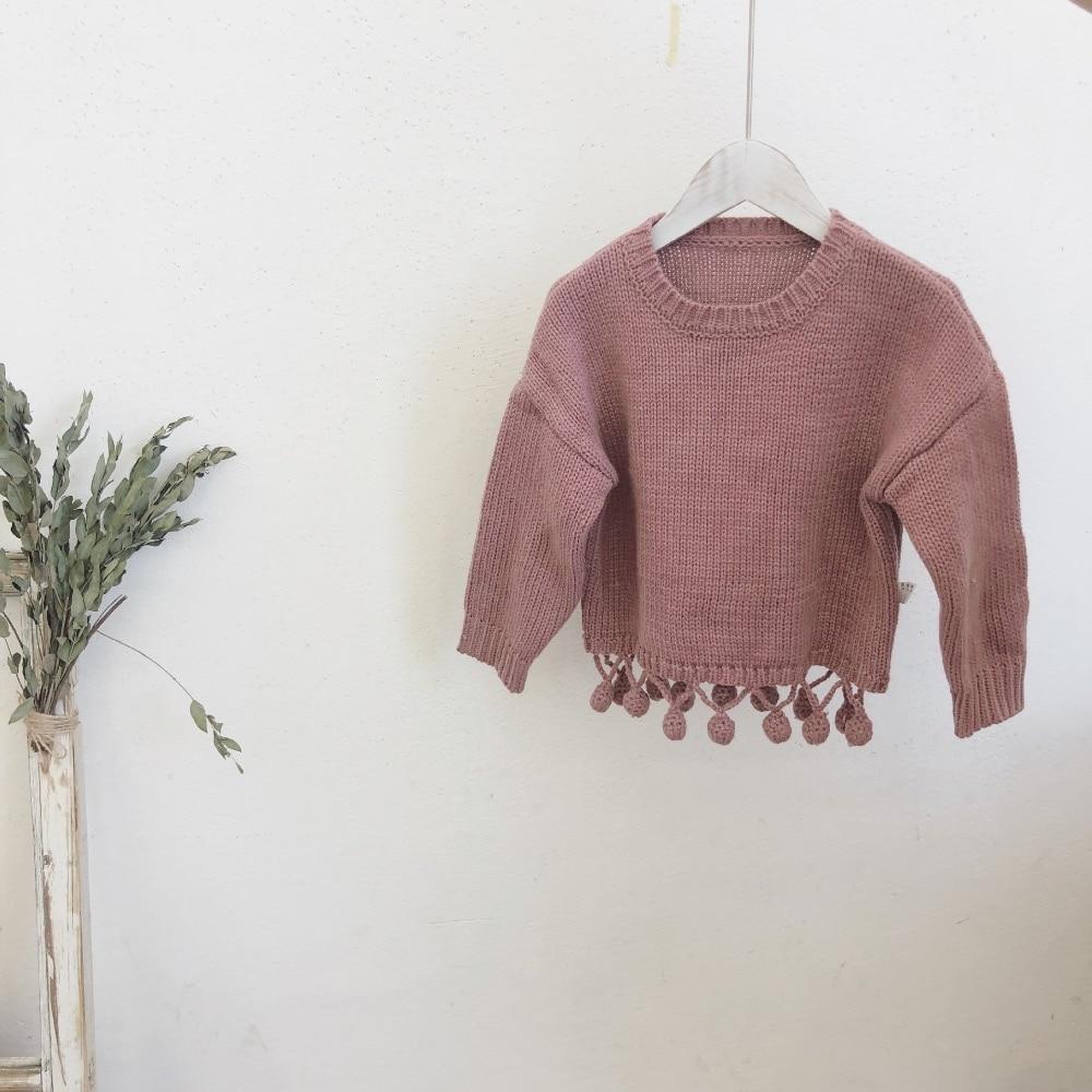 3088a9577842 Children Sweaters O neck Tassel Girls Knitted Sweater Autumn Winter ...