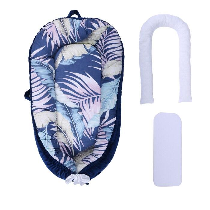[Полностью разборный] детский шезлонг для новорожденного, двусторонняя переносная кроватка для сна - Цвет: Navy Leaf