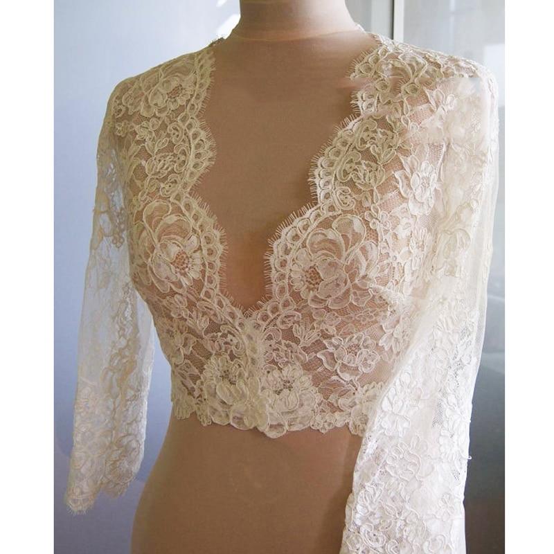 V Neck White Ivory Lace Jacket Bridal Lace Topper Bridal