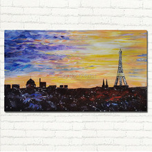 Inspiring Paris City Hand Painted Palette Knife Modern Eiffel Tower Landscape Oil Painting On Canvas