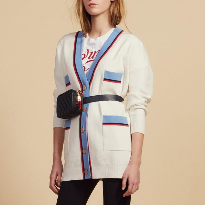 Women White Cardigan Four Pockets V Neck Knitted Sweater Coat