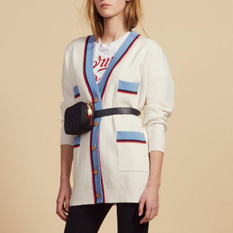 Женский белый кардиган, четыре кармана, v образный вырез, вязаный свитер, пальто
