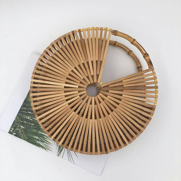 все цены на Ins Bamboo Basket Bag Woven Summer Retro Small Round Hollow Out Straw Bag Women Bag Shoulder Summer Holiday Beach Popular
