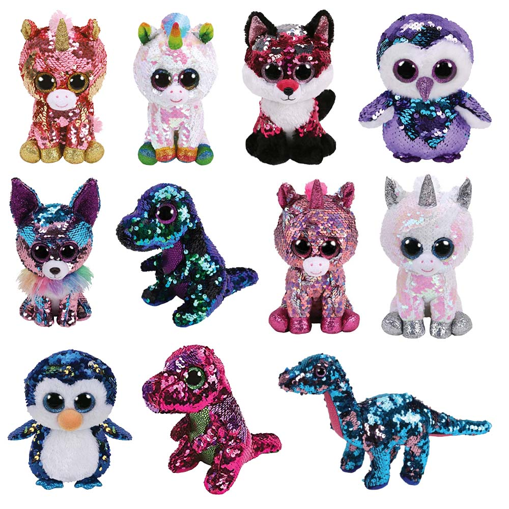 fc5bd0e0094 Ty -6   15cm Beanie Boos - Flippables Sparkle Pink Unicorn Yappy Chihuahua  Jewel