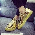 Мужчины скольжения на повседневная обувь золото металлические украшения обычная обувь известная марка дизайнер открытый плоские туфли zapatillas hombre XK111212