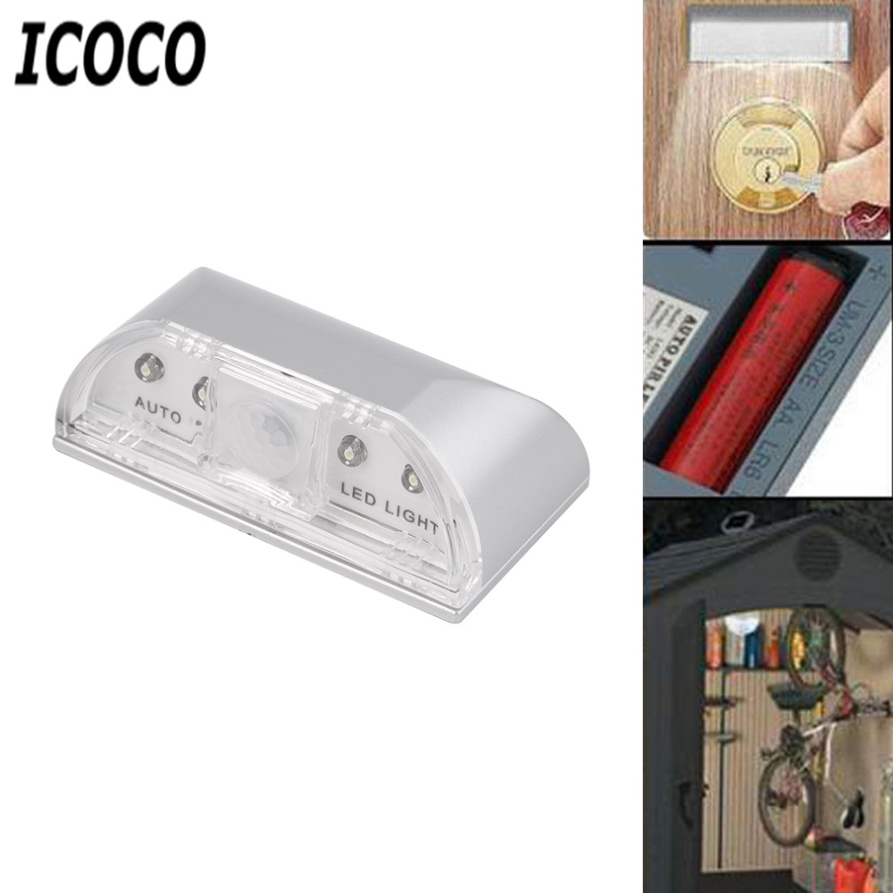ICOCO Wireless Auto IR Infrared Sensor Motion Detectors 4 LEDs Key Hole Lamp Night Light Ambient Keyhole Sensor Light Hot Sale