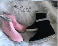 2019 handmade custom women's boots fashion rhinestone pointed inside increased warm female snow boots