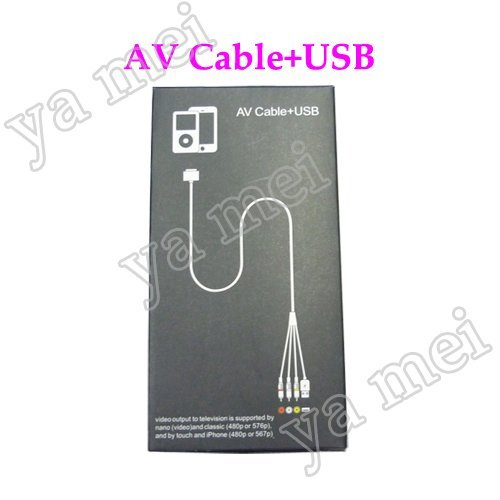 50pcs/lot  AV cable + USB connect television to nano classic touch iphone 3G