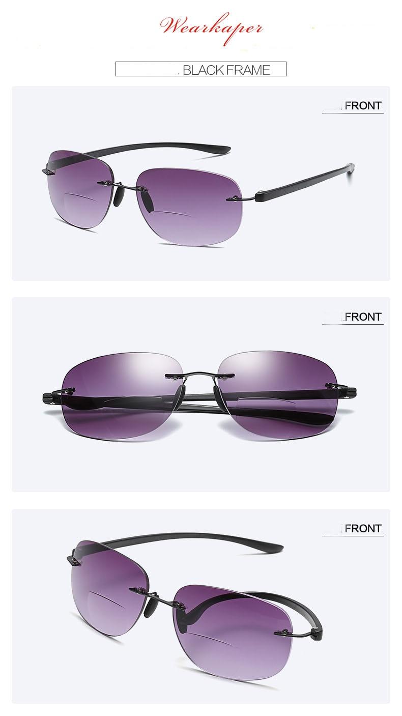 d8843bb2480 WEARKAPER Frameless Titanium Bifocal reading glasses Outdoor fishing.  Details