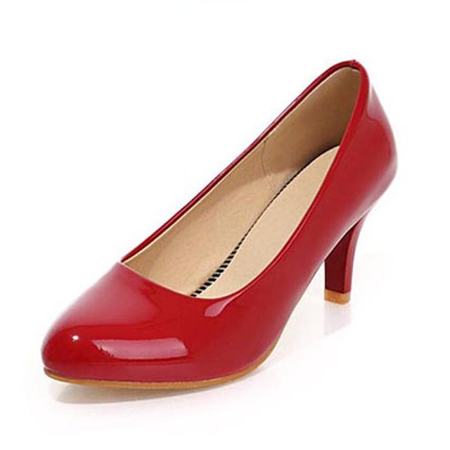 Fashion Patent Leather Shallow Mouth Slip-on Women Pumps Sexy Round Toe High Heels Women Office Shoes Ladies Middle Hieght Pumps