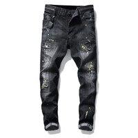Мужские рваные джинсы modis, одежда на застежках-молниях, мужские джинсы, 2019 брюки, уличная одежда для зимы, обтягивающие, серые, в стиле хип-хоп