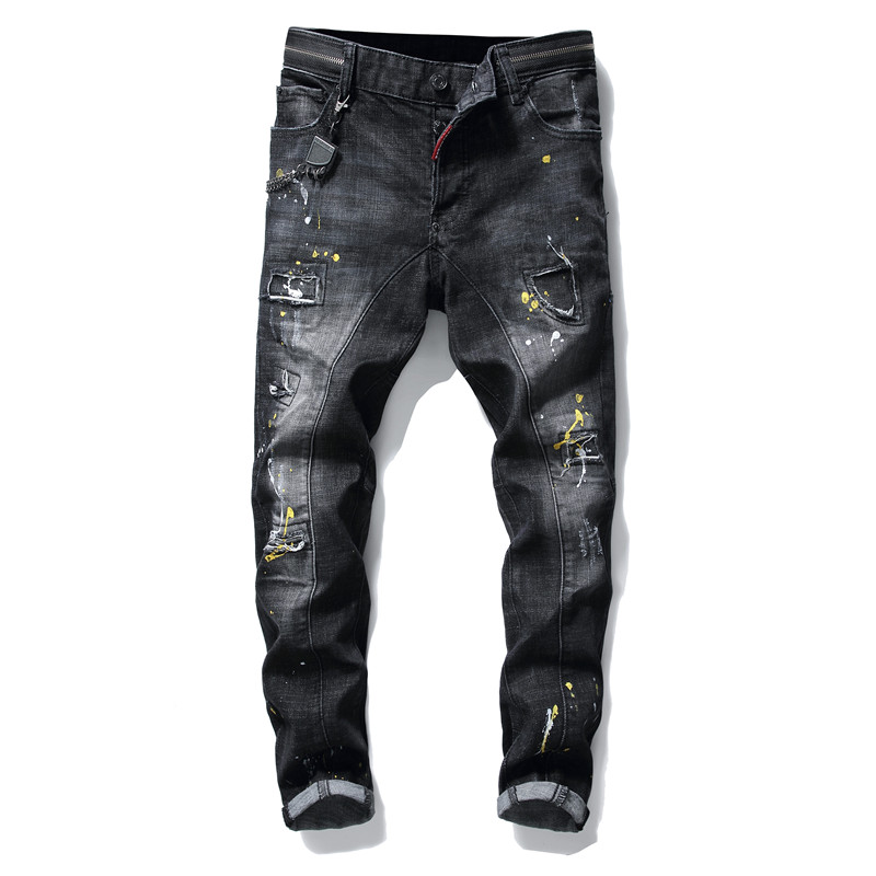 Jeans   men modis torn ripped splice paint zip clothing   jeans   men clothes 2019 trousers streetwear for Winter skinny grey hip hop