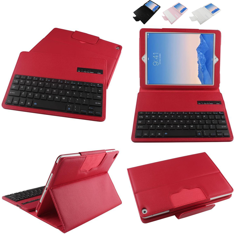 Litchi Table New 2017 Wireless Bluetooth Keyboard +PU Leather Cover Protective Case For apple iPad 6 / Air 2 9.7 inch case cover