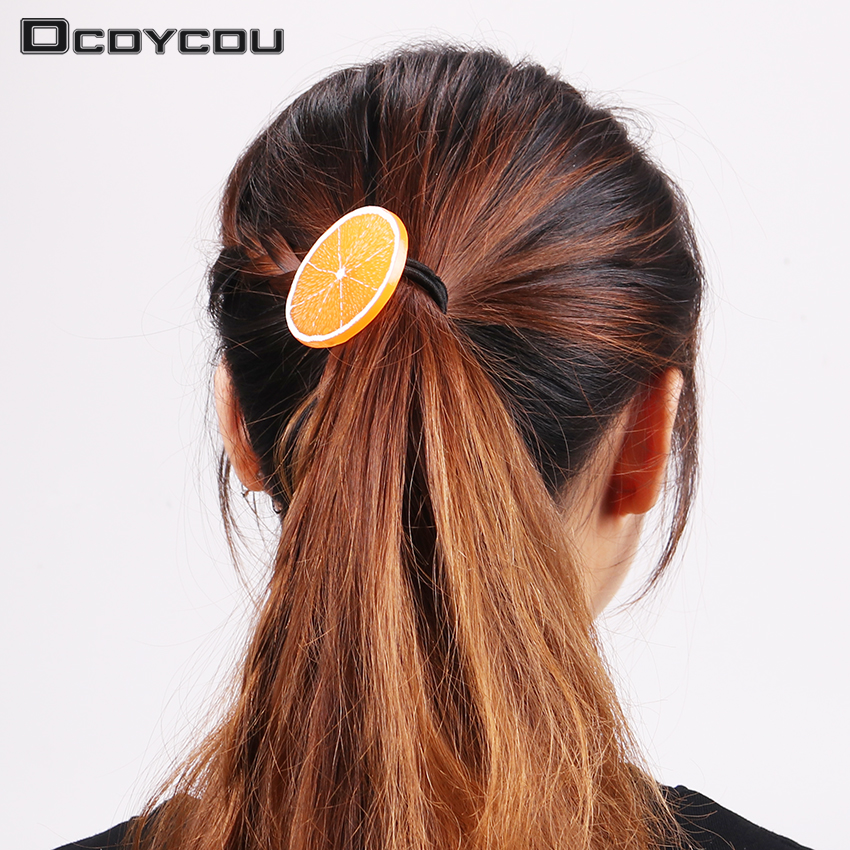 3 PCS New Fruit Slice Multi Patterns Hair Accessories Girl Women Elastic Hair Band Rubber Bands Headwear Tie Gum Holder Rope lnrrabc 12pcs pack elastic hair bands headband stretchy hair rope rubber bands hair accessories for accessoire cheveux