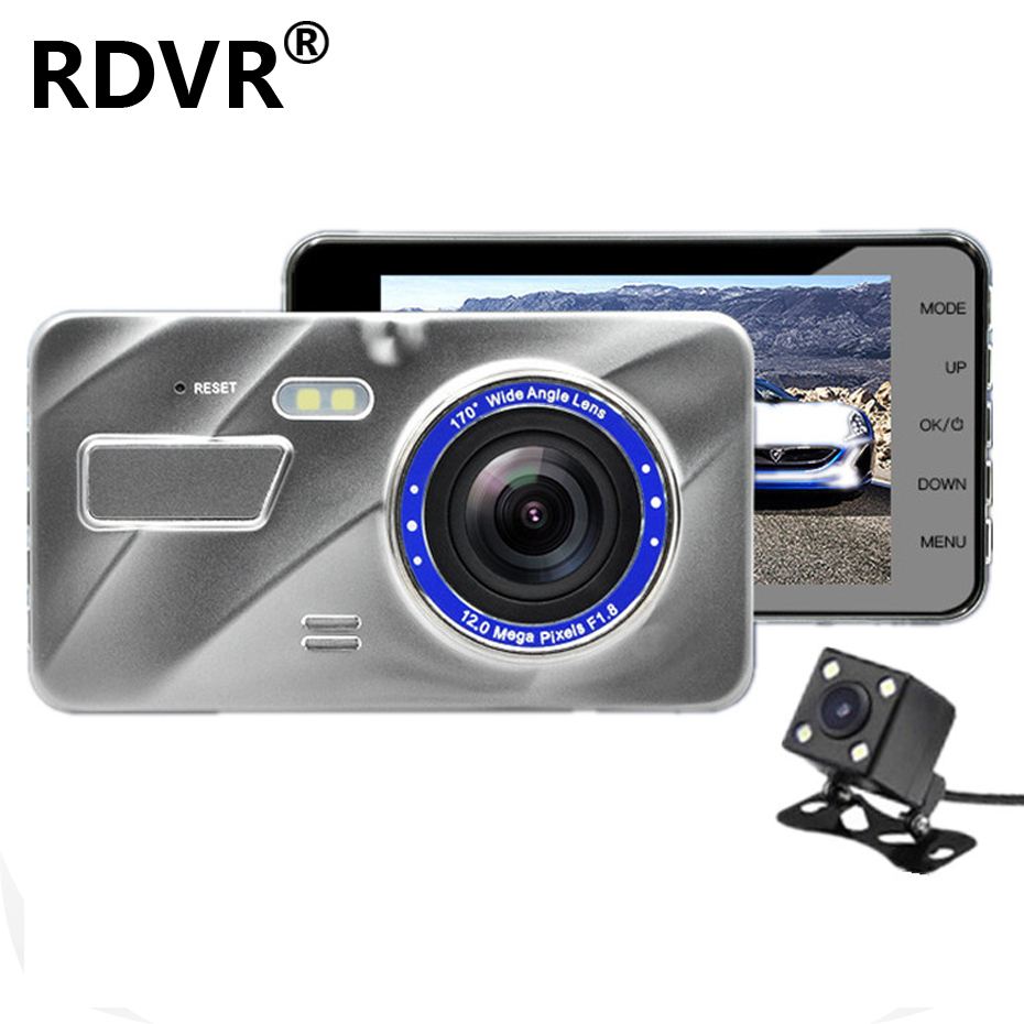 """New Dual Lens Dash Cam Car Dvrs Registrator FHD 1080P 4"""" IPS with Rear view camera Night Vision Video Recorder Parking Monitor"""