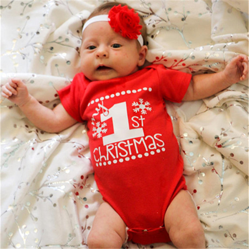 Godier Newborn Its my 1st Christmas Baby Bodysuits Boys Girls Clothes Pants Cute Reindeer Kids Christmas Clothing Gift Junpsuit
