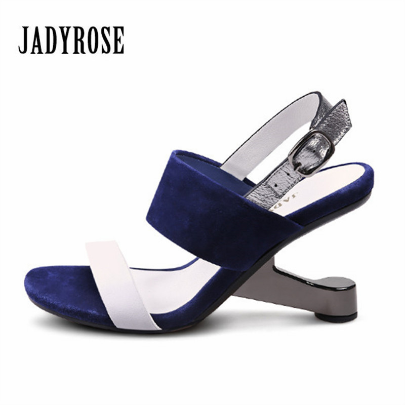 JADY ROSE Summer Women Sandals Genuine Leather Strange Heel Wedding Dress Shoes Woman 8CM High Heels Wedges Female Footwear hzxinlive elegant summer sandals women high heel wedges shoes woman round toe roman sandals ladies footwear female casual shoes