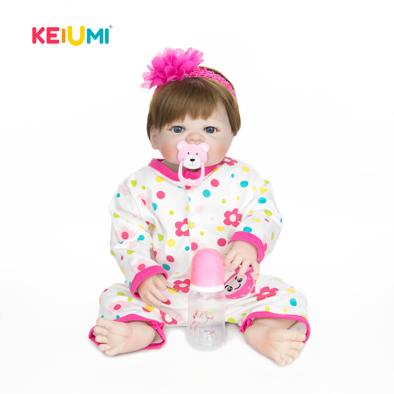 KEIUMI 23 pouces corps complet Silicone vinyle Reborn Bonecas cheveux enracinés réaliste Reborn bébé poupées 57 cm enfants Playmates cadeaux