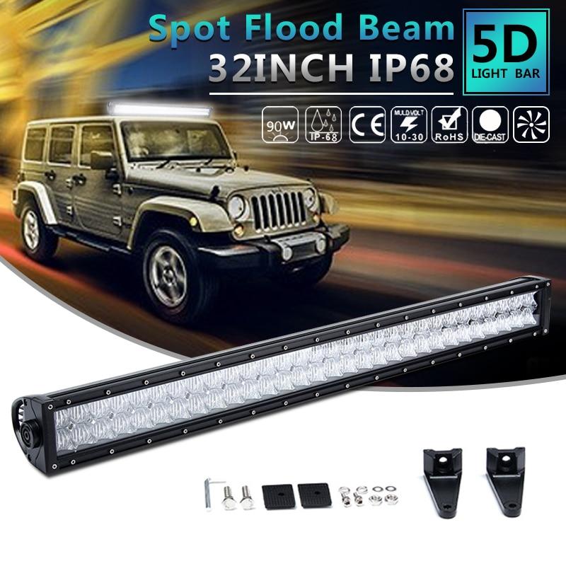 1 шт. 32 дюймов автомобиля светодиодный пятно света 5D линзой полосы света бар авто крыши Универсальный светодиодный прожектор Водонепроница