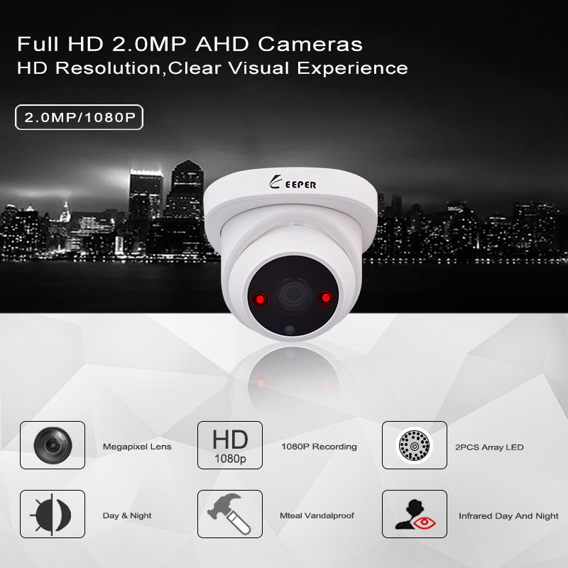 Image 2 - Keeper 1080P 2MP AHD Analog Indoor dome HD camera 3.6mm with Night Version Anti vandal Analog CCTV surveillance Camera-in Surveillance Cameras from Security & Protection