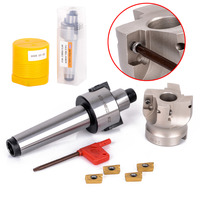 1pc New MT3 FMB Shank 50mm Face End CNC Mill Cutter 4pcs APMT1604 Inserts With Wrench