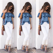 Womens Sexy Summer Off Shoulder Tops Casual Party Loose Shirt Cotton Denim Top Blue