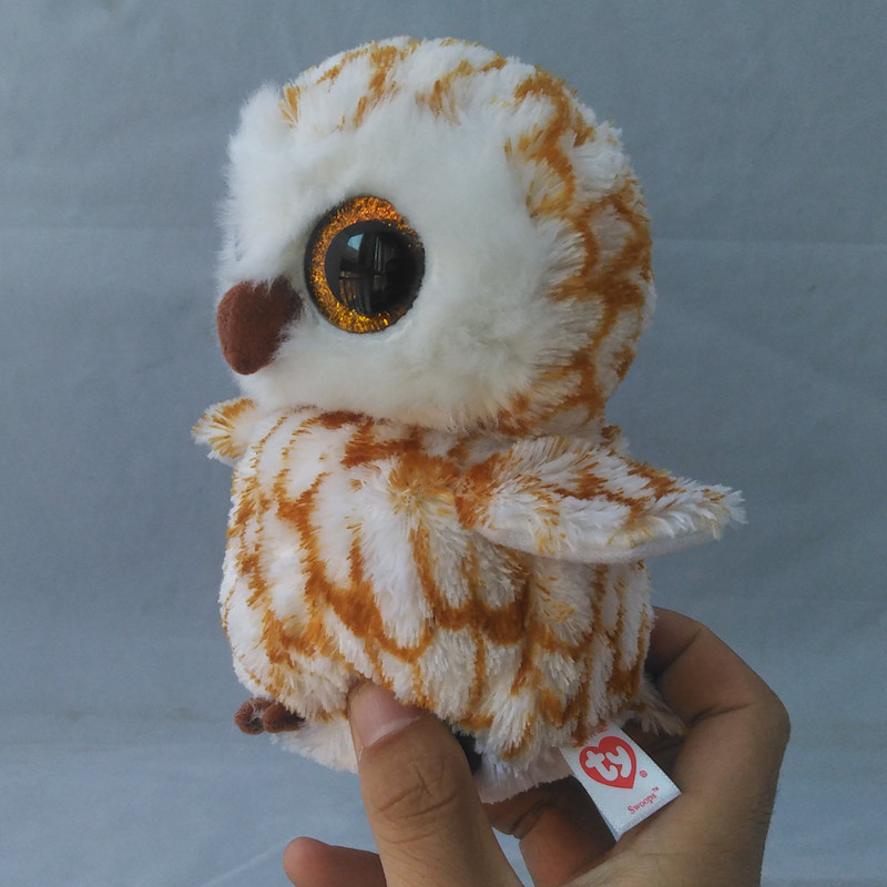 Ty Beanie Boos Big Eyes Plush Toy Doll Gray Owl TY Baby Kids Gift Collection Soft plush toys Gifts S83 ty collection beanie boos kids plush toys big eyes slick brown fox lovely children gifts kawaii stuffed animals dolls cute toys