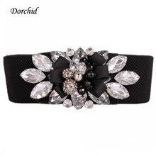 Dorchid Women's 2016 Floral Crystal Belts 2016 Retro Wide Cummerbunds Stretch Belts White Waistbund Designer Belts High Quality