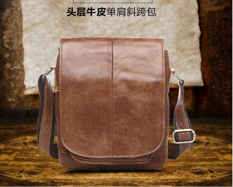 First layer cowhide leather men messenger bag small shoulder bag causal bag genuine leather high quality new design bag female new genuine leather handbags first layer of leather shoulder bag korean zipper small square bag mobile messenger bags