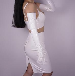 Image 5 - Womens ultra long faux patent leather PU leather long design fashion black color 40cm, 50cm, 60cm, 70cm length R598