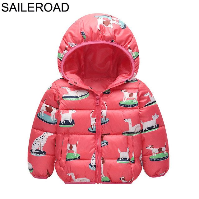 df2e42dc57eb SAILEROAD Cartoon Dog Pattern Children s Winter Jacket for Girls ...