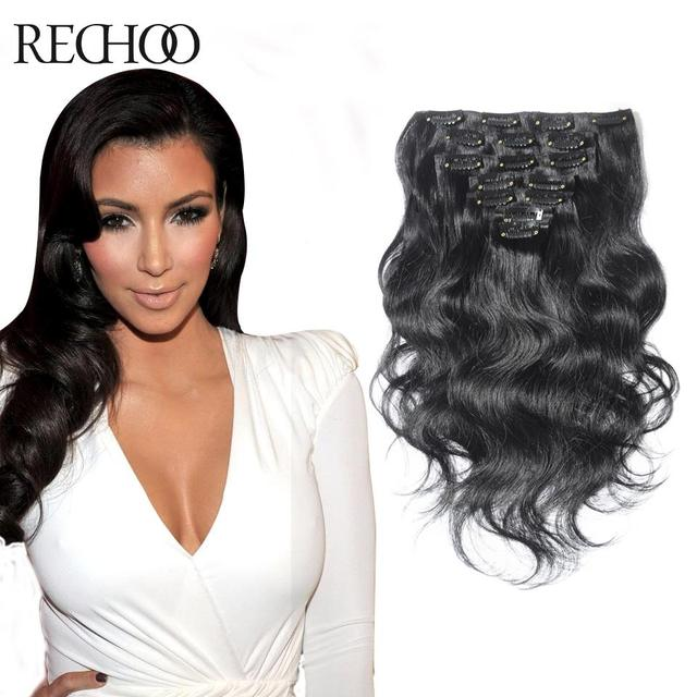 Aliexpress Buy Double Weft Clip In Wavy Human Hair Extensions